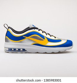 VIENNA, AUSTRIA - AUGUST 23, 2017: Nike Air Max Mercurial 98 QS blue, grey and yellow sneaker on white background.
