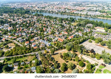 VIENNA, AUSTRIA - AUGUST 25, 2015: Aerial View Of Suburbs Roofs In Vienna City From Donauturm (Danube Tower) One Of The Tallest Towers In Vienna.