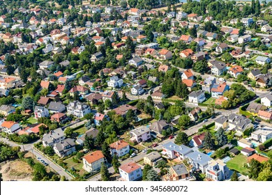 VIENNA, AUSTRIA - AUGUST 25, 2015: Aerial View Of Suburbs Houses Roofs In Vienna City From Donauturm (Danube Tower) One Of The Tallest Towers In Vienna.