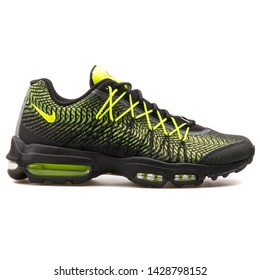 VIENNA, AUSTRIA - AUGUST 25, 2017: Nike Air Max 95 Ultra JCRD black and volt green sneaker on white background.
