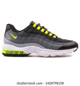 VIENNA, AUSTRIA - AUGUST 25, 2017: Nike Air Max 95 Ultra black, grey and volt yellow sneaker on white background.