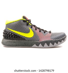 VIENNA, AUSTRIA - AUGUST 25, 2017: Nike Kyrie 1 Pewter grey and volt yellow sneaker on white background.