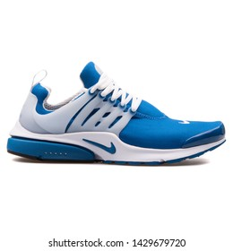 VIENNA, AUSTRIA - AUGUST 25, 2017: Nike Air Presto QS blue and white sneaker on white background.