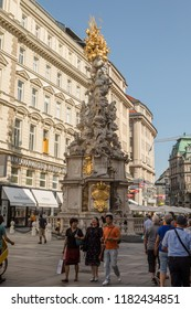Vienna, Austria - August 26, 2017: The Plague Column, or Trinity Column. This is a Holy Trinity column located on the Graben, a central street of Vienna.