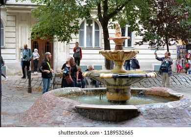 VIENNA, AUSTRIA - AUGUST 26, 2018: The view the fountain at Hundertwasser House