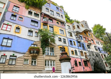 VIENNA, AUSTRIA - AUGUST 26, 2018: Hundertwasserhaus in Landstrabe District, Vienna City