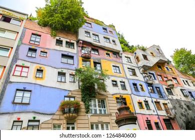 VIENNA, AUSTRIA - AUGUST 26, 2018: Hundertwasserhaus in Landstrabe District, Vienna City