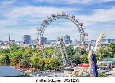Vienna, Austria - August 27, 2015: View over the Prater with the Ferris Wheel and Skyline, Vienna, Austria