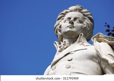Vienna, Austria - August 28, 2015: Close up of Mozart Statue in Imperial Palace Park, Vienna on August 28, 2015.