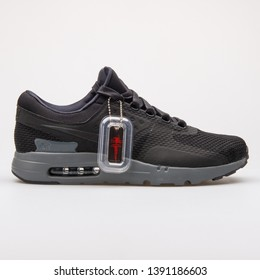 VIENNA, AUSTRIA - AUGUST 28, 2017: Nike Air Max Zero QS black sneaker on white background.