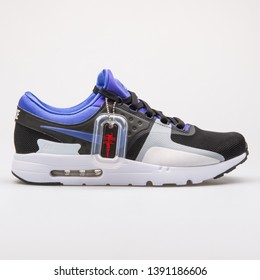 VIENNA, AUSTRIA - AUGUST 28, 2017: Nike Air Max Zero QS black, violet and white sneaker on white background.