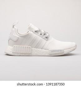 cdb88da918 VIENNA, AUSTRIA - AUGUST 28, 2017: Adidas NMD R1 white sneaker on white