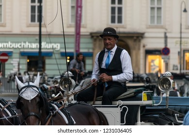 VIENNA, AUSTRIA - AUGUST 28, 2018: Portrait of a Viennese coachman