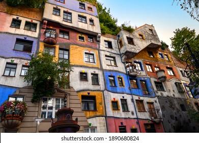 VIENNA, AUSTRIA - AUGUST 28, 2019. The view of  Hundertwasser house in Vienna, Austria.