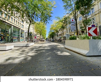 Vienna, Austria - August 28, 2020: pedestrian area of Mariahilferstrasse street in Vienna. Mariahilfer Strasse is a popular shopping street of Vienna.