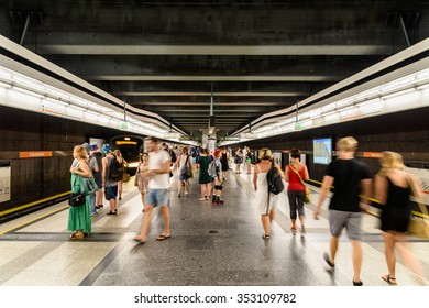 VIENNA, AUSTRIA - AUGUST 29, 2015: People Waiting For Train In Subway Station In Downtown Vienna.