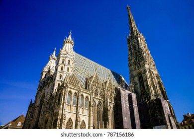 VIENNA, AUSTRIA - AUGUST 29, 2017: exterior of St. Stephen's Cathedral (Stephansdom, 1147). Cathedral is mother church of Roman Catholic Archdiocese of Vienna