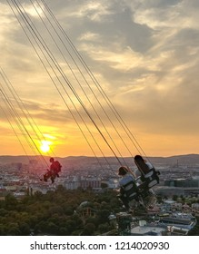 VIENNA, AUSTRIA - AUGUST 29, 2018: sunset over Vienna seen from Praterturm: the highest flying swing in the world