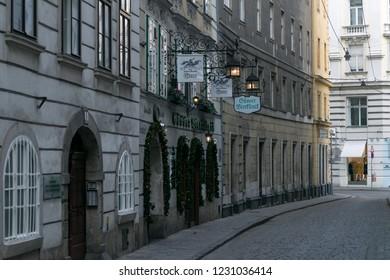 VIENNA, AUSTRIA - AUGUST 29, 2018:  Bar in a street in Vienna