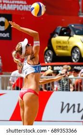 Vienna, Austria - August 3, 2017. Round of 16 match between Barbora HERMANNOVA, Marketa SLUKOVA (CZE) and Lauren FENDRICK, April ROSS (USA) at the FIVB Beach Volleyball World Championships in Vienna.