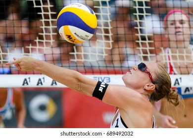 Vienna, Austria - August 3, 2017. Round of 16 match between Kristyna KOLOCOVA, Michala KVAPILOVA (CZE) and Summer ROSS, Brooke SWEAT YOUNGQUIST (USA) at the FIVB Beach Volleyball World Championships.