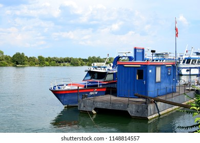 VIENNA, AUSTRIA - AUGUST 3, 2018: Pier for the vessels of the Austrian Police on the Danube River in Vienna