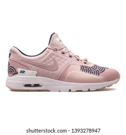 VIENNA, AUSTRIA - AUGUST 30, 2017: Nike Air Max Zero Lotc QS rose sneaker on white background.