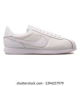 VIENNA, AUSTRIA - AUGUST 30, 2017: Nike Cortez Basic QS 1972 white sneaker on white background.