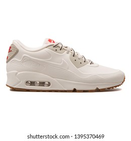 VIENNA, AUSTRIA - AUGUST 30, 2017: Nike Air Max 90 VT QS white sneaker on white background.