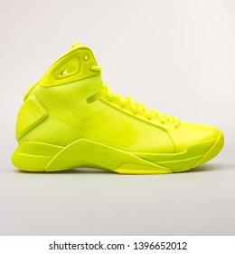 VIENNA, AUSTRIA - AUGUST 30, 2017: Nike Hyperdunk 08 volt yellow sneaker on white background.