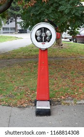 VIENNA, AUSTRIA - AUGUST 31, 2018: Traditional public weighing machine near a park in the 2nd district (Leopoldstadt) of Vienna