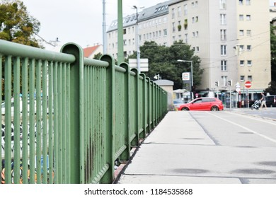 "VIENNA, AUSTRIA - AUGUST 31, 2018: Old green railing of Franzensbrücke, a bridge on the Donaukanal (Eng. ""Danube Canal"") in Vienna"
