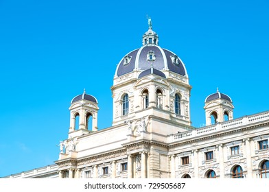 Vienna, Austria - August 6, 2016:  The Museum Palace in Theresien square, detail of the facade