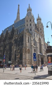 VIENNA, AUSTRIA - - AUGUST 7, 2013: St. Stephen's Cathedral on August 7, 2013 in Vienna, Austria. St. Stephen's Cathedral with a tower of 136 m height is the important religious building in Vienna.