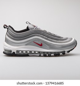 VIENNA, AUSTRIA - AUGUST 7, 2017: Nike Air Max 97 OG QS metallic silver sneaker on white background.