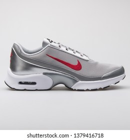 VIENNA, AUSTRIA - AUGUST 7, 2017: Nike Air Max Jewell QS metallic silver sneaker on white background.