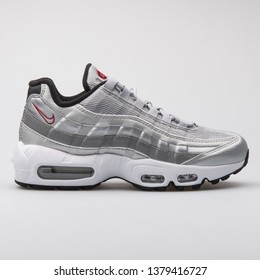 VIENNA, AUSTRIA - AUGUST 7, 2017: Nike Air Max 95 QS metallic silver sneaker on white background.