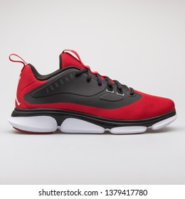 VIENNA, AUSTRIA - AUGUST 7, 2017: Nike Jordan Impact TR red and black sneaker on white background.