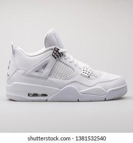 051e6ac3 VIENNA, AUSTRIA - AUGUST 7, 2017: Nike Air Jordan 4 Retro white sneaker