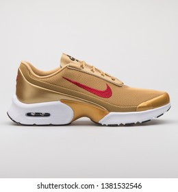 VIENNA, AUSTRIA - AUGUST 7, 2017: Nike Air Max Jewell QS gold sneaker on white background.