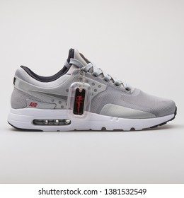 VIENNA, AUSTRIA - AUGUST 7, 2017: Nike Air Max Zero QS grey sneaker on white background.