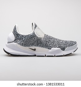 VIENNA, AUSTRIA - AUGUST 7, 2017: Nike Sock Dart QS black and white sneaker on white background.