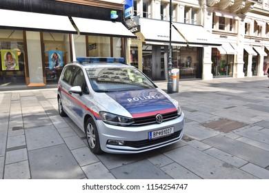 VIENNA, AUSTRIA - AUGUST 8, 2018: Austrian police car at Graben, a famous street at Vienna city center
