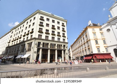 "VIENNA, AUSTRIA - AUGUST 8, 2018: ""Looshaus"" at Michaelerplatz. Designed by Austrian architect Adolf Loos in 1909. An important example of Viennese modernism."