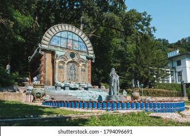 Vienna, Austria - August 8 2020: Fountain House Nymphaeum Omega in the Park of the Ernst Fuchs Museum, at the Otto Wagner Villa in the Hütteldor Suburb in Vienna.