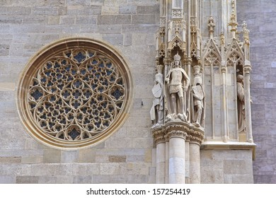VIENNA, AUSTRIA - AUGUST 8 : A Rose Window, also called Catherine window, and Exterior detail at Saint Stephen's Cathedral Stephansdom on August 8, 2012