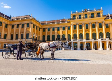 Vienna, Austria - August 9, 2011 :  Horse coach and a coachman in front of the Schonbrunn Palace in Vienna, Austria