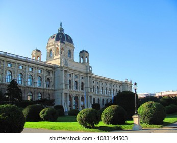 Vienna, Austria. Beautiful view of famous Naturhistorisches Museum (Natural History Museum) with park Maria-Theresien-Platz