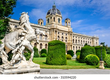 Vienna, Austria. Beautiful view of famous Naturhistorisches Museum (Natural History Museum) with park Maria-Theresien-Platz and sculpture in Vienna, Austria