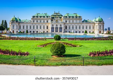 Vienna, Austria. Beautiful view of famous Schloss Belvedere summer residence for Prince Eugene of Savoy, in Wien capital of Habsburg Empire.